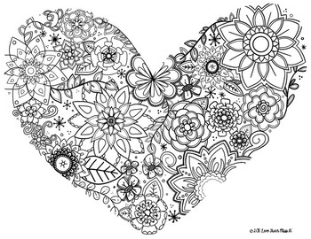Zentangle Coloring Page: Floral Heart