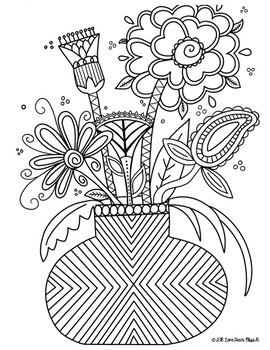Zentangle Coloring Page: Flowers