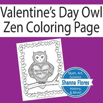 Zentangle Coloring Page Valentine S Day Owl Zen By Shanna Flores