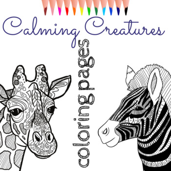 Zentangle Coloring Pages 8 Calming Animals Mindfulness Activity