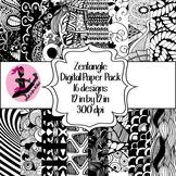 Zentangle Digital Paper- 16 Designs- 12 by 12- 300 dpi