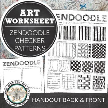 Zentangle Drawing Handout, How to Draw Herringbone and Checkerboard Patterns