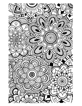 Zentangle Flowers Coloring Sheet By Rlm Doodles Tpt