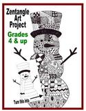 Zentangle Kids art project activity winter snowman holiday