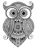 Zentangle Owl Coloring Sheet