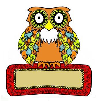 Zentangle Owl. Student Wall Nametags