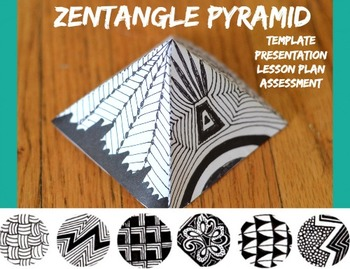 Zentangle Pyramid Art Project Pattern Abstract Sculpture Lesson Plan and Handout