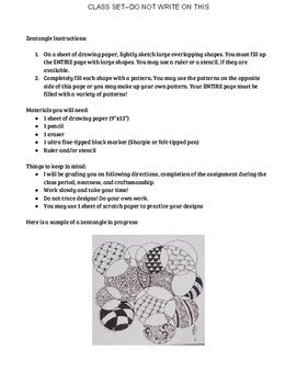 Zentangle Sub Plan--Class Set