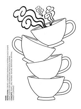 Zentangle Teacups Worksheet