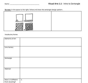 Zentangle Unit Handouts: Intro to Visual Arts