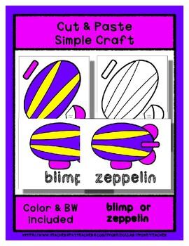 Zeppelin Blimp  - Cut & Paste Craft  Super Easy perfect for Pre-K & Kindergarten