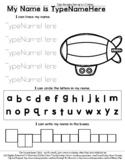 Zeppelin Blimp - Name Tracing & Coloring Editable Sheet -