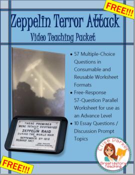 Zeppelin Terror Attack: WWI Video Quiz / Worksheet / Teaching Packet