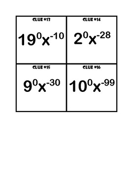 Zero Exponent and Negative Exponent Clue