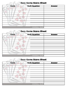 Zero Game - Adding, Subtracting, Multiplying, and Dividing Integers