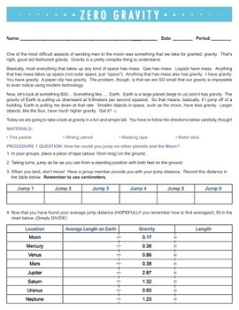 Zero Gravity - Mass, Weight, and Gravity Lab {Editable}