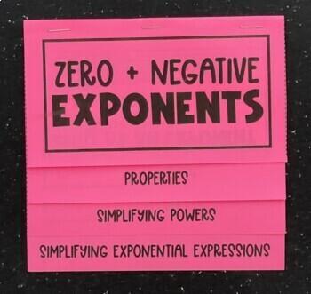 Zero & Negative Exponents (Foldable) for Algebra 1