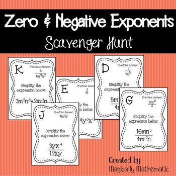 Zero & Negative Exponents Scavenger Hunt