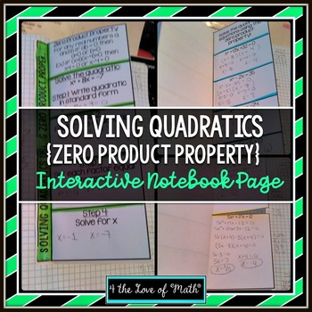 Zero Product Property (Solving Quadratic Equations) Foldable Page