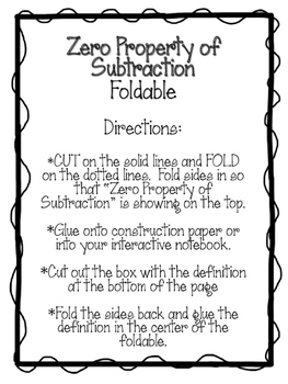 Zero Property of Subtraction Foldable.  Math Interactive Notebook. Math Center