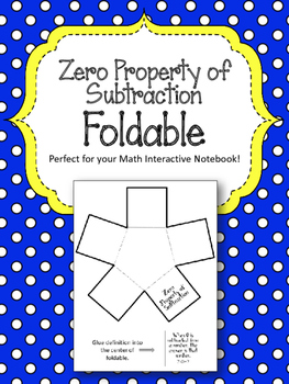 Zero Property of Subtraction Foldable.  Math Interactive N