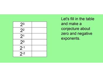 Zero and Negative Exponent SmartBoard Mini Lesson
