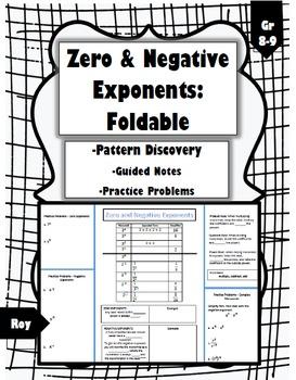 Zero and Negative Exponents: Foldable