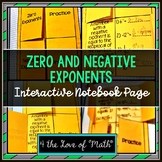 Zero and Negative Exponents: Interactive Notebook Page