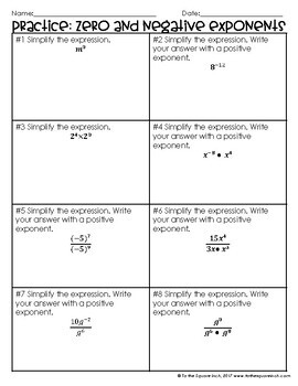 Zero and Negative Exponents Notes
