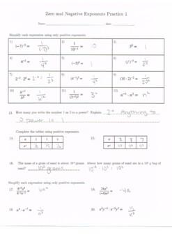 Zero and Negative Exponents Practice 1