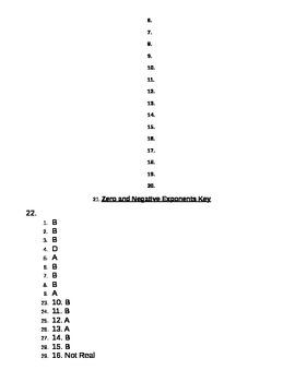 Zero and Negative Exponents Quiz Key