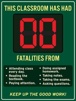 Zero fatalities from good classroom habits. 18 x 24 printable poster.
