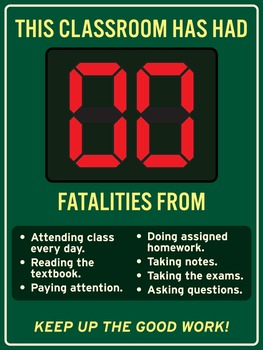 Zero fatalities from good classroom habits. 18 x 24 printa