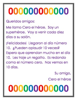 Zero the Hero SPANISH (Letters for every 10 days & Colorin