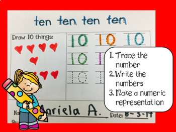 Zero the Hero counting by ten, write the numbers, craftivity