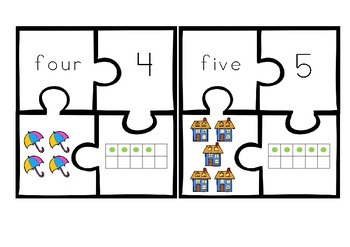 Zero to Ten Number Puzzle Match