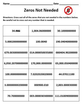 Zeros Not Needed Worksheet