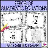 Zeros of Quadratic Equations & Functions Task Cards