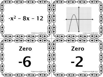 Zeros of Quadratic Equations & Functions Task Cards