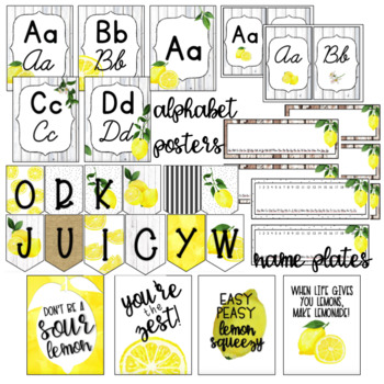 Zesty Lemon - Farmhouse - Classroom Decor Bundle