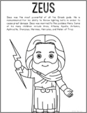 Zeus, Greek Mythology Informational Text Coloring Page Craft or Poster