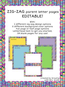 Zig-Zag Border Parent Letter or Stationary Pack EDITABLE