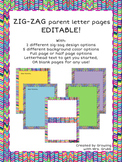 EDITABLE Parent Letter or Stationary Pack Zig-Zag Border