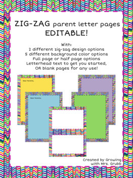 EDITABLE Parent Letter or Stationary Pack Zig-Zag Border