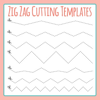 Zig Zag Dashed Cutting Template with Scissors Clip Art for Commercial Use