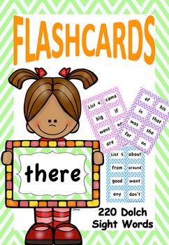 Dolch Sight Words Zig Zag Flashcards