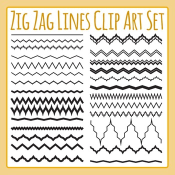 Zig Zag Lines Clip Art Set for Commercial Use