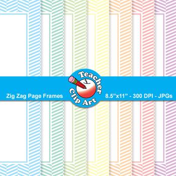 Zig Zag Page Frames — Pastel Colors (9 Frames)