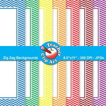 Zig Zag Page Frames — Primary Colors (11 Frames)