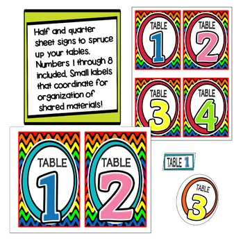 Zig Zag TABLE NUMBERS (black)